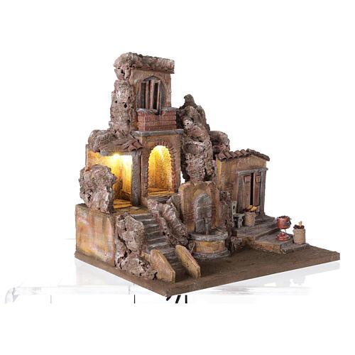 Borgo presepe illuminato con fontanella 40x5x35 per statue 10 cm 5