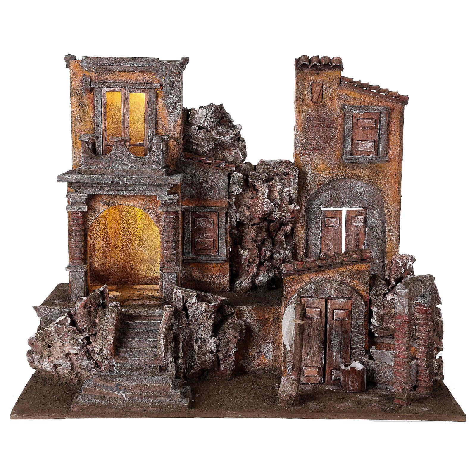 Borgo presepe illuminato con lavanderia 50x60x40 per statue 12 cm 4
