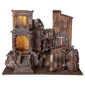 Borgo presepe illuminato con lavanderia 50x60x40 per statue 12 cm s1