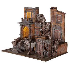 Borgo presepe illuminato con lavanderia 50x60x40 per statue 12 cm s3