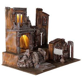Borgo presepe illuminato con lavanderia 50x60x40 per statue 12 cm s4