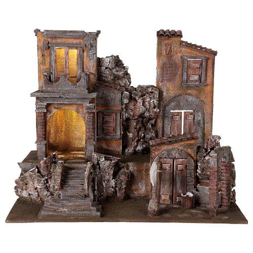 Borgo presepe illuminato con lavanderia 50x60x40 per statue 12 cm 1
