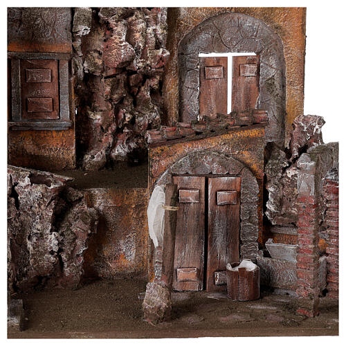 Borgo presepe illuminato con lavanderia 50x60x40 per statue 12 cm 2
