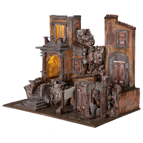 Borgo presepe illuminato con lavanderia 50x60x40 per statue 12 cm 3