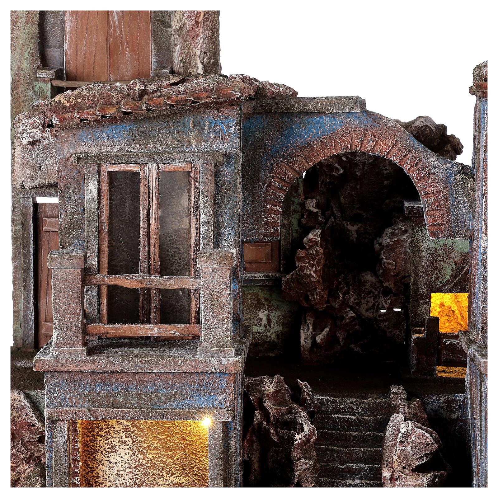 Village crèche éclairé avec arcade et balcons 55x60x45 cm pour santons 12 cm 4