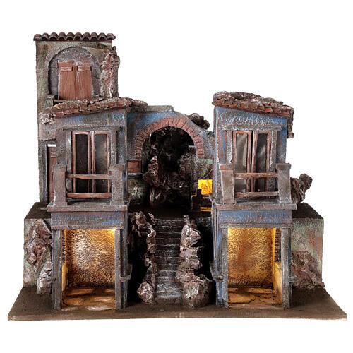 Village crèche éclairé avec arcade et balcons 55x60x45 cm pour santons 12 cm 1