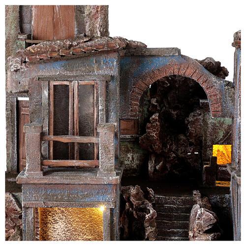 Village crèche éclairé avec arcade et balcons 55x60x45 cm pour santons 12 cm 2