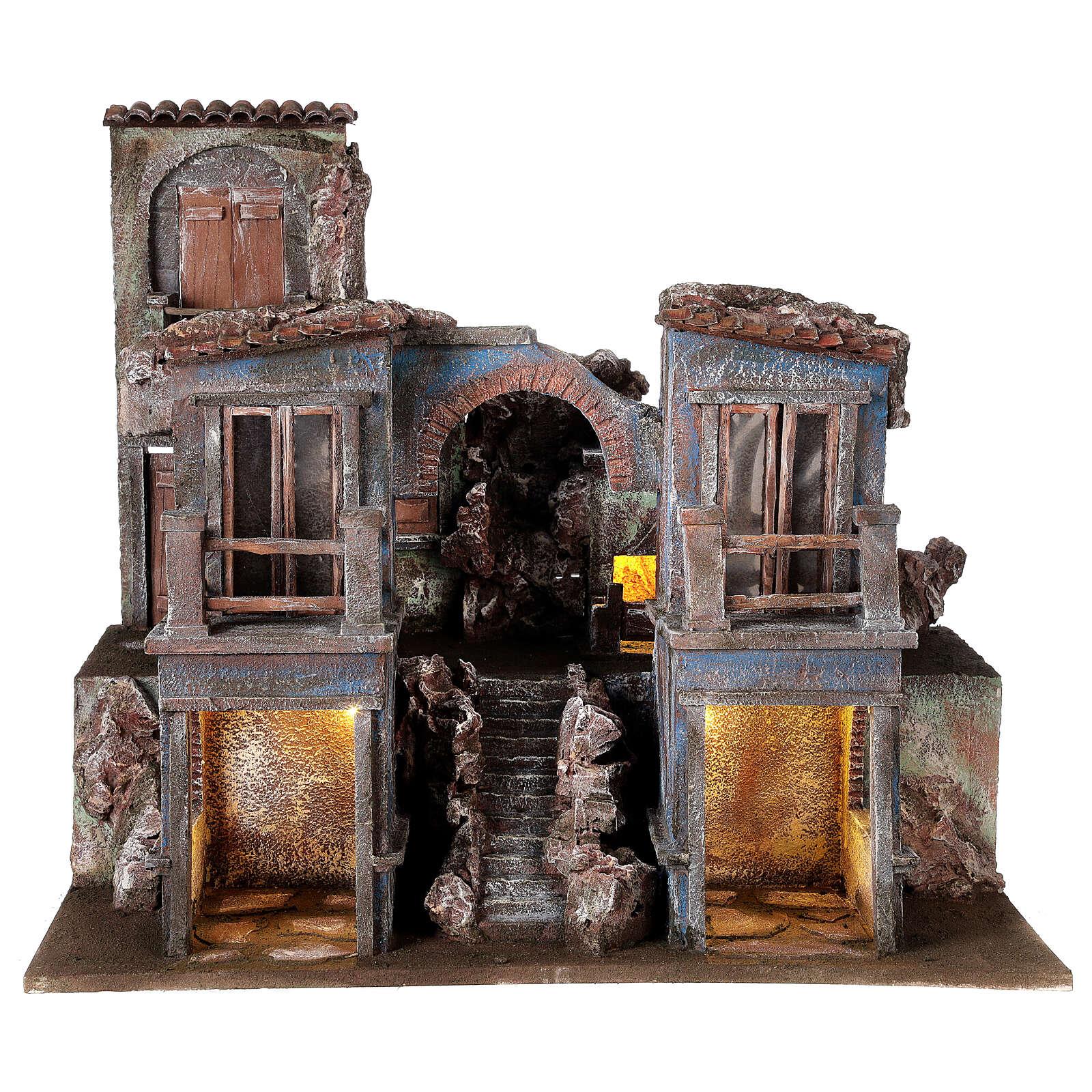 Borgo presepe illuminato con arcata e balconi 55x60x45 per statue 12 cm 4