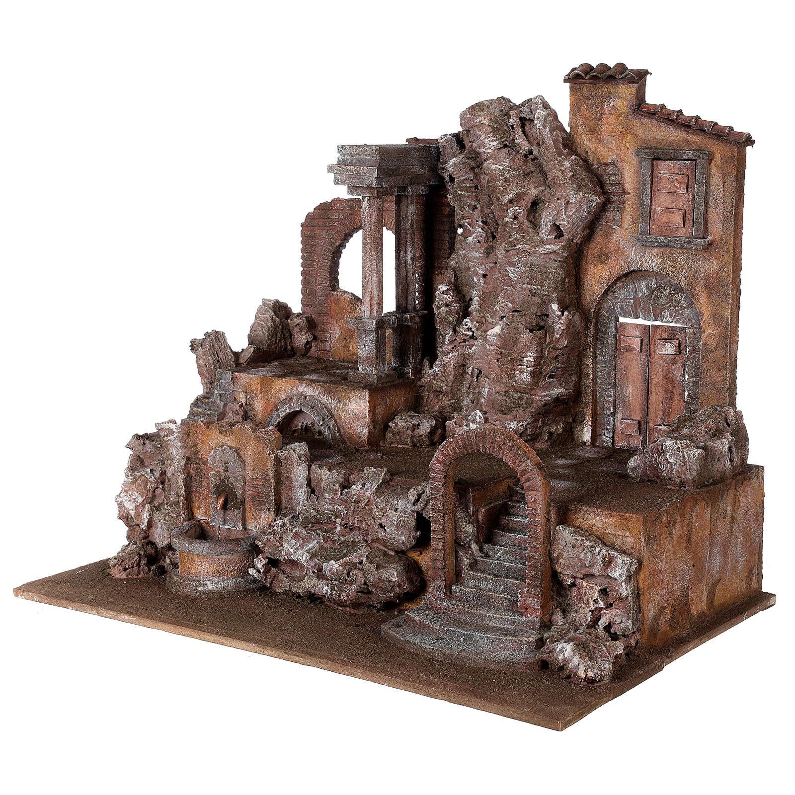 Borgo presepe illuminato con fontanella 55x60x40 per statue 12 cm 4