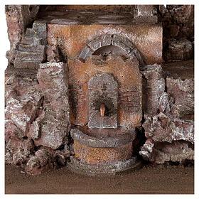 Borgo presepe illuminato con fontanella 55x60x40 per statue 12 cm s2