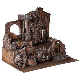 Borgo presepe illuminato con fontanella 55x60x40 per statue 12 cm s4