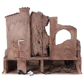Borgo presepe illuminato con fontanella 55x60x40 per statue 12 cm s5
