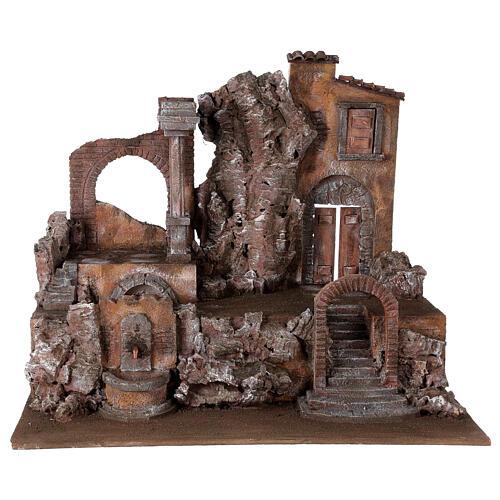 Borgo presepe illuminato con fontanella 55x60x40 per statue 12 cm 1