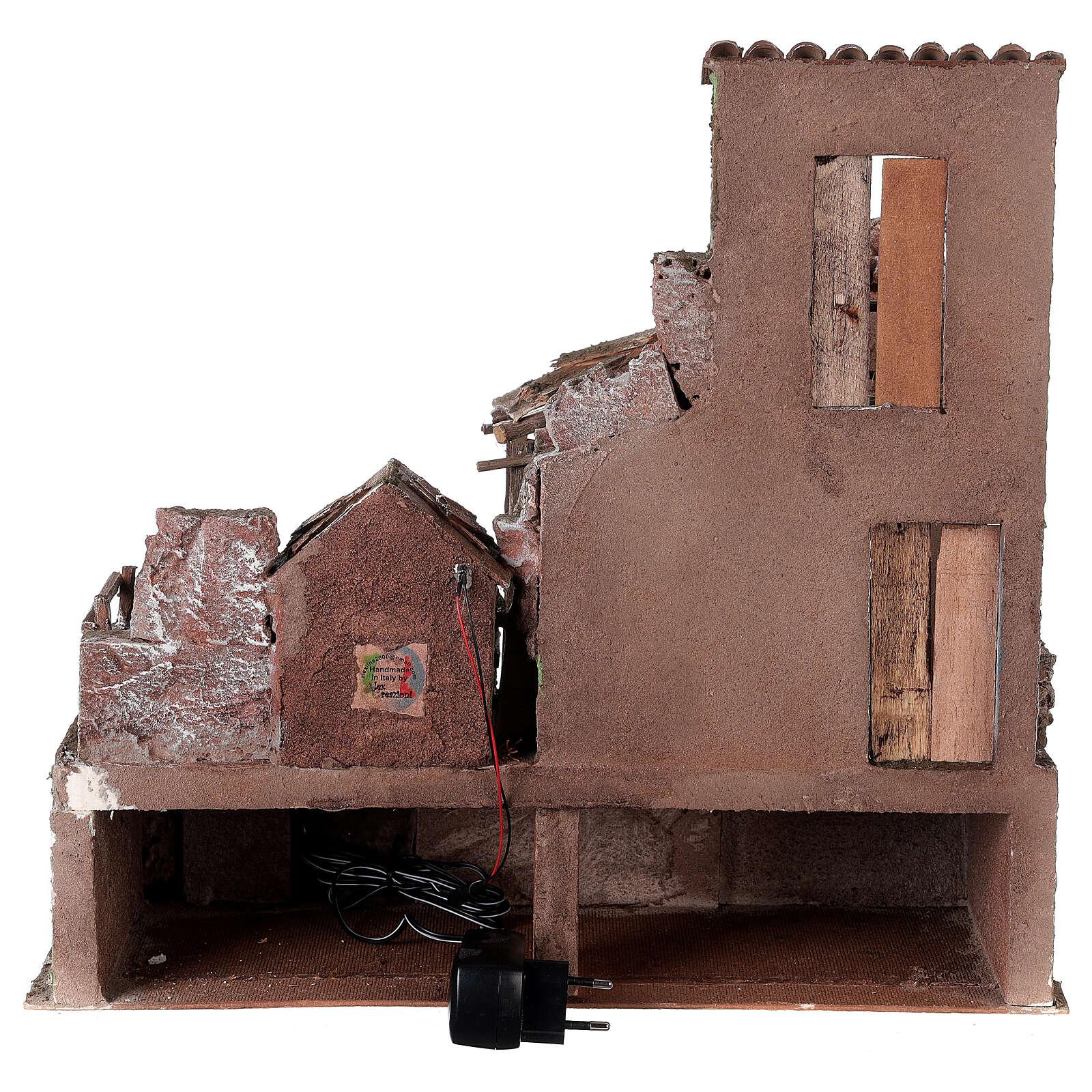 Borgo presepe illuminato con stalla 45x50x40 per statue 10 cm 4