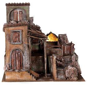 Borgo presepe illuminato con stalla 45x50x40 per statue 10 cm s1