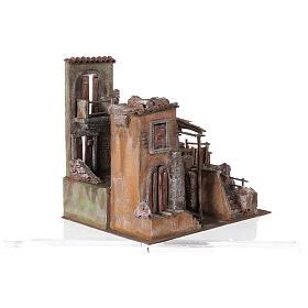 Borgo presepe illuminato con stalla 45x50x40 per statue 10 cm s4