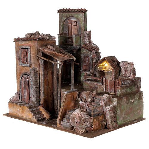 Borgo presepe illuminato con stalla 45x50x40 per statue 10 cm 3