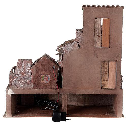 Borgo presepe illuminato con stalla 45x50x40 per statue 10 cm 5