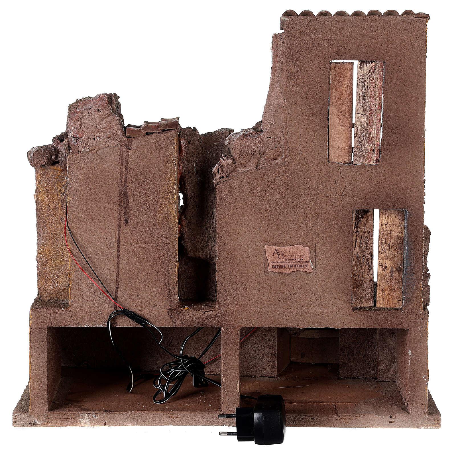 Village crèche illuminé avec étable 45x45x35 cm pour santons 10 cm 4