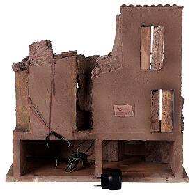 Village crèche illuminé avec étable 45x45x35 cm pour santons 10 cm s5