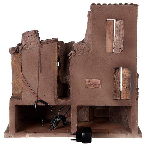 Village crèche illuminé avec étable 45x45x35 cm pour santons 10 cm 5