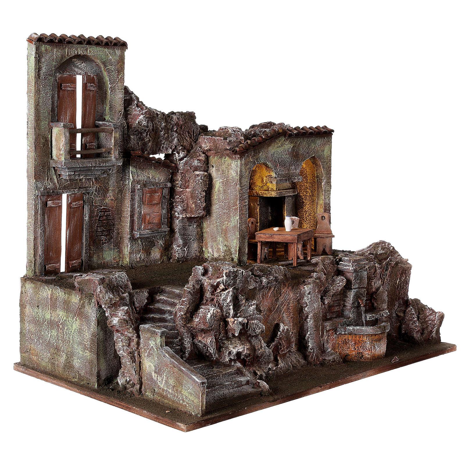 Borgo presepe illuminato fontanella scalinata 55x60x40 statue 12 cm 4