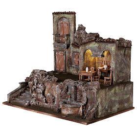 Borgo presepe illuminato fontanella scalinata 55x60x40 statue 12 cm s3