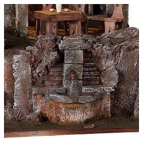 Borgo presepe illuminato fontanella scalinata 55x60x40 statue 12 cm s4