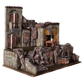 Borgo presepe illuminato fontanella scalinata 55x60x40 statue 12 cm s5