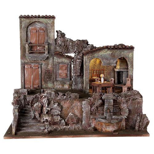 Borgo presepe illuminato fontanella scalinata 55x60x40 statue 12 cm 1