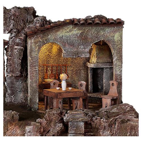 Borgo presepe illuminato fontanella scalinata 55x60x40 statue 12 cm 2