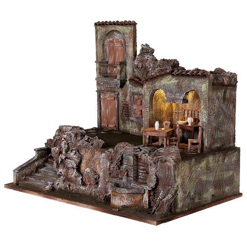 Borgo presepe illuminato fontanella scalinata 55x60x40 statue 12 cm 3