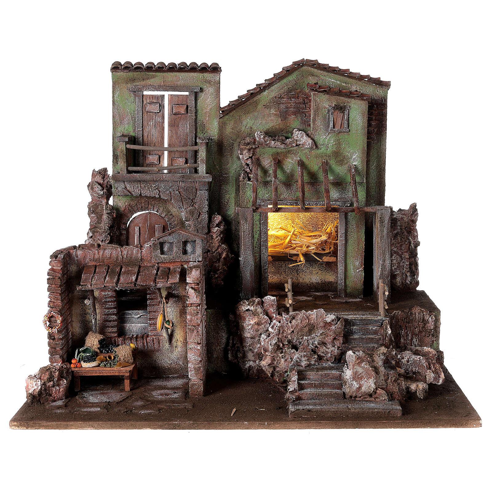 Village crèche éclairé avec étable et magasin 50x60x40 cm pour santons 12 cm 4