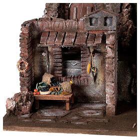 Village crèche éclairé avec étable et magasin 50x60x40 cm pour santons 12 cm s2