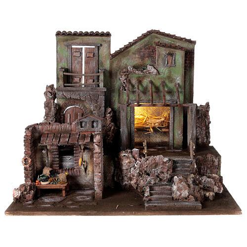 Village crèche éclairé avec étable et magasin 50x60x40 cm pour santons 12 cm 1