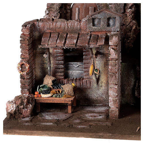 Village crèche éclairé avec étable et magasin 50x60x40 cm pour santons 12 cm 2