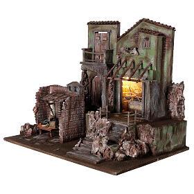 Borgo presepe illuminato con stalla e bottega 50x60x40 per statue 12 cm s3