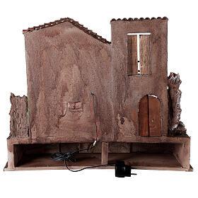 Borgo presepe illuminato con stalla e bottega 50x60x40 per statue 12 cm s5