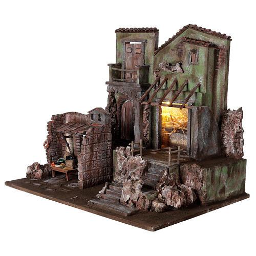 Borgo presepe illuminato con stalla e bottega 50x60x40 per statue 12 cm 3