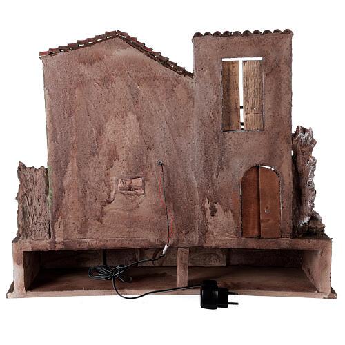 Borgo presepe illuminato con stalla e bottega 50x60x40 per statue 12 cm 5