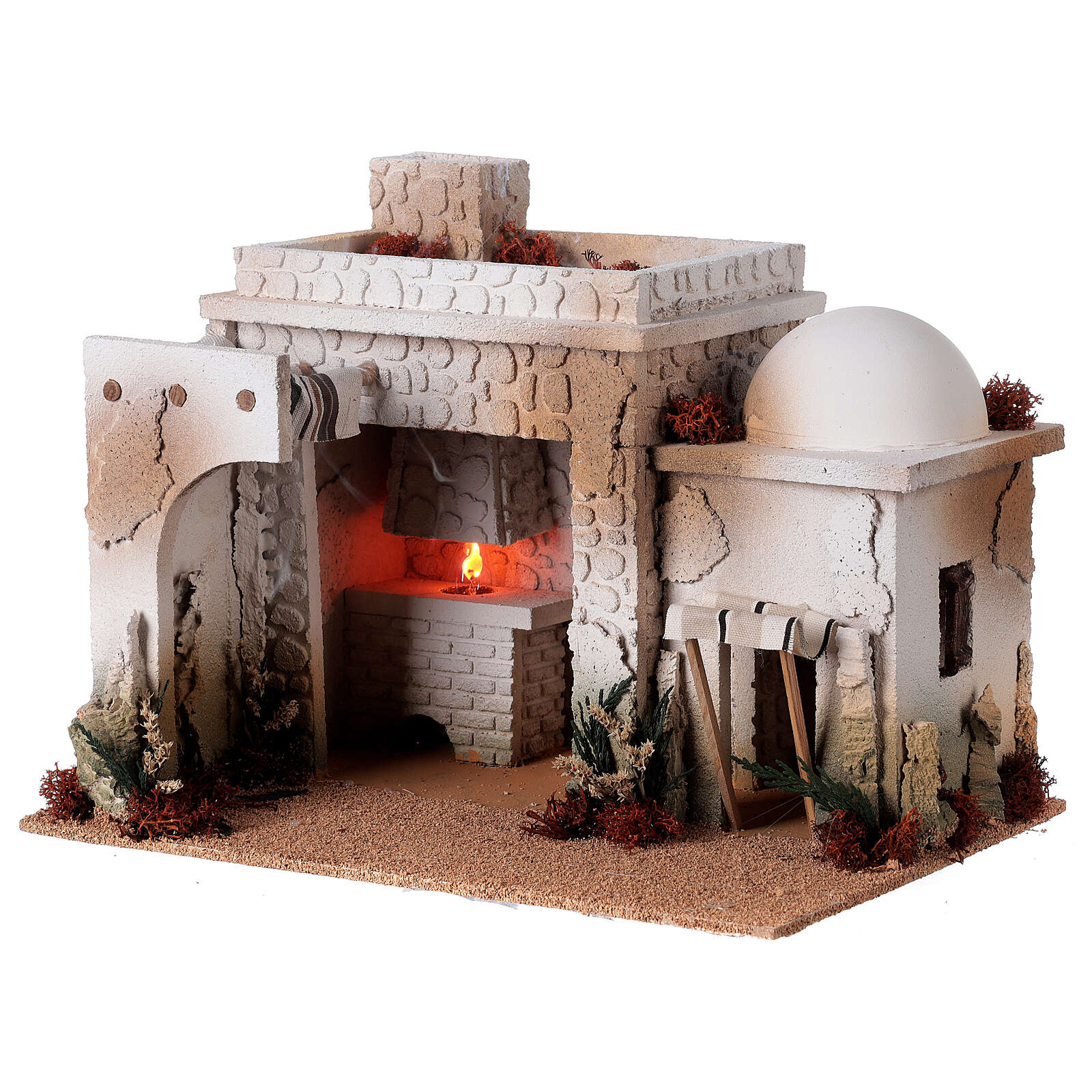 Taverne arabe four flamme fumée pour crèche 12-14 cm 25x35x25 cm 4