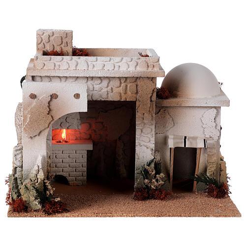 Taverne arabe four flamme fumée pour crèche 12-14 cm 25x35x25 cm 1