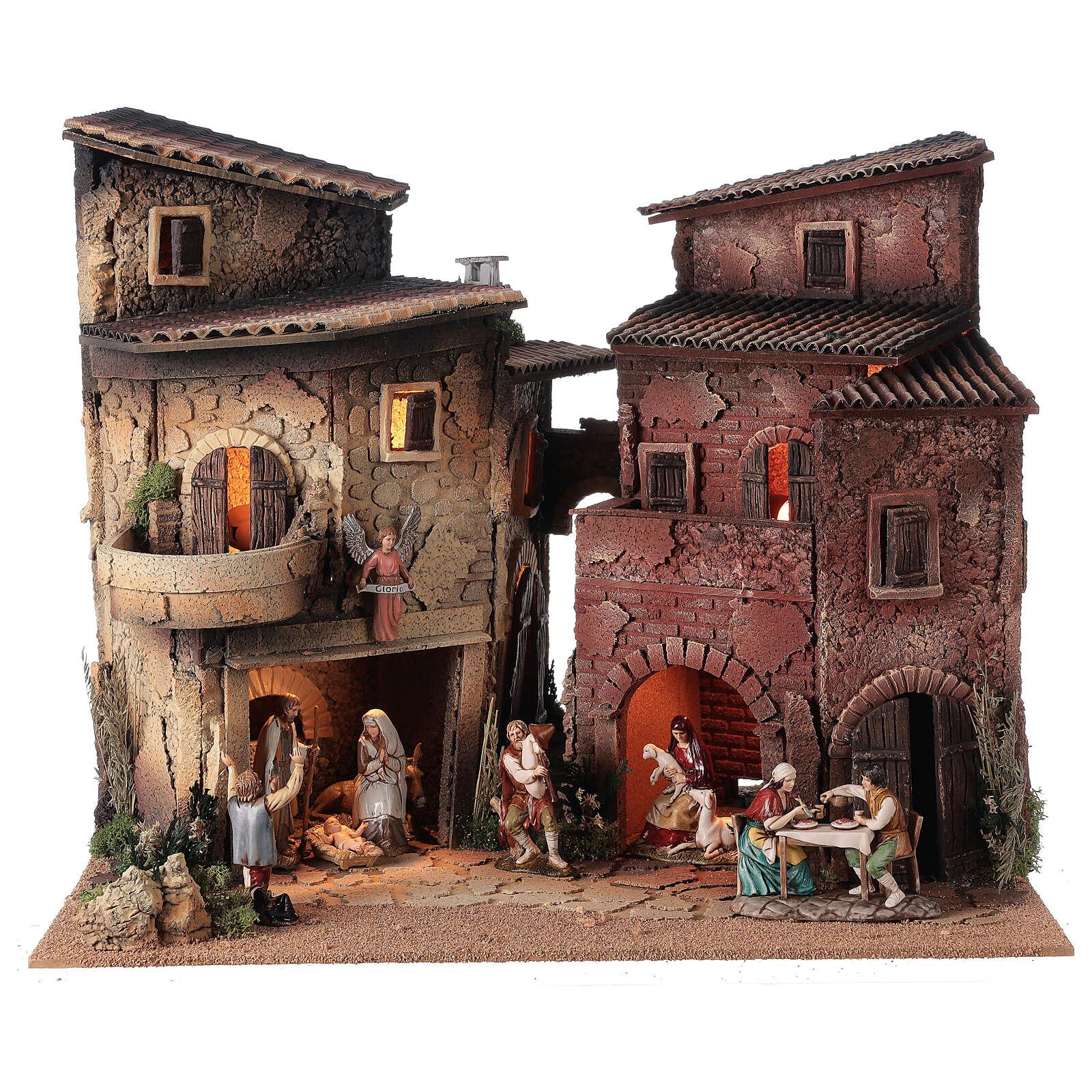 Borgo presepe completo arcata 40x50x40 statue 10 cm Moranduzzo 4