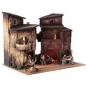 Borgo presepe completo arcata 40x50x40 statue 10 cm Moranduzzo s3