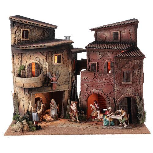 Borgo presepe completo arcata 40x50x40 statue 10 cm Moranduzzo 1