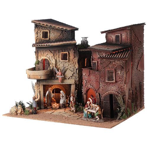 Borgo presepe completo arcata 40x50x40 statue 10 cm Moranduzzo 2