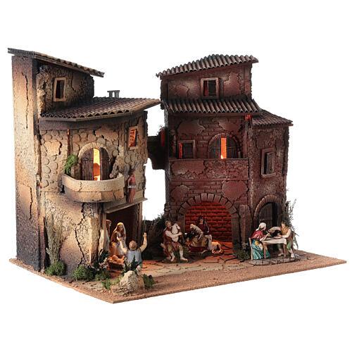 Borgo presepe completo arcata 40x50x40 statue 10 cm Moranduzzo 3