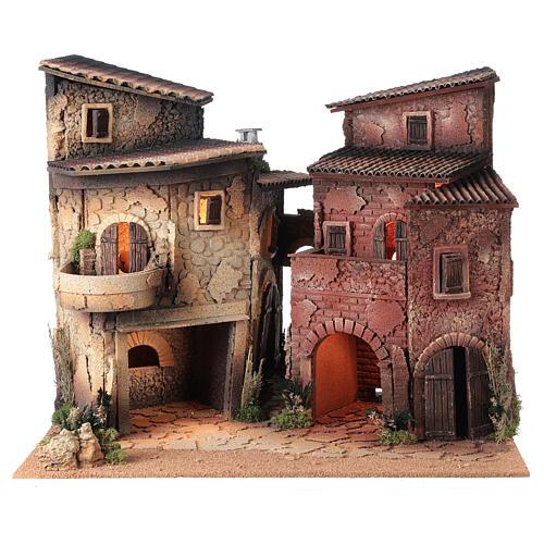 Borgo presepe completo arcata 40x50x40 statue 10 cm Moranduzzo 7