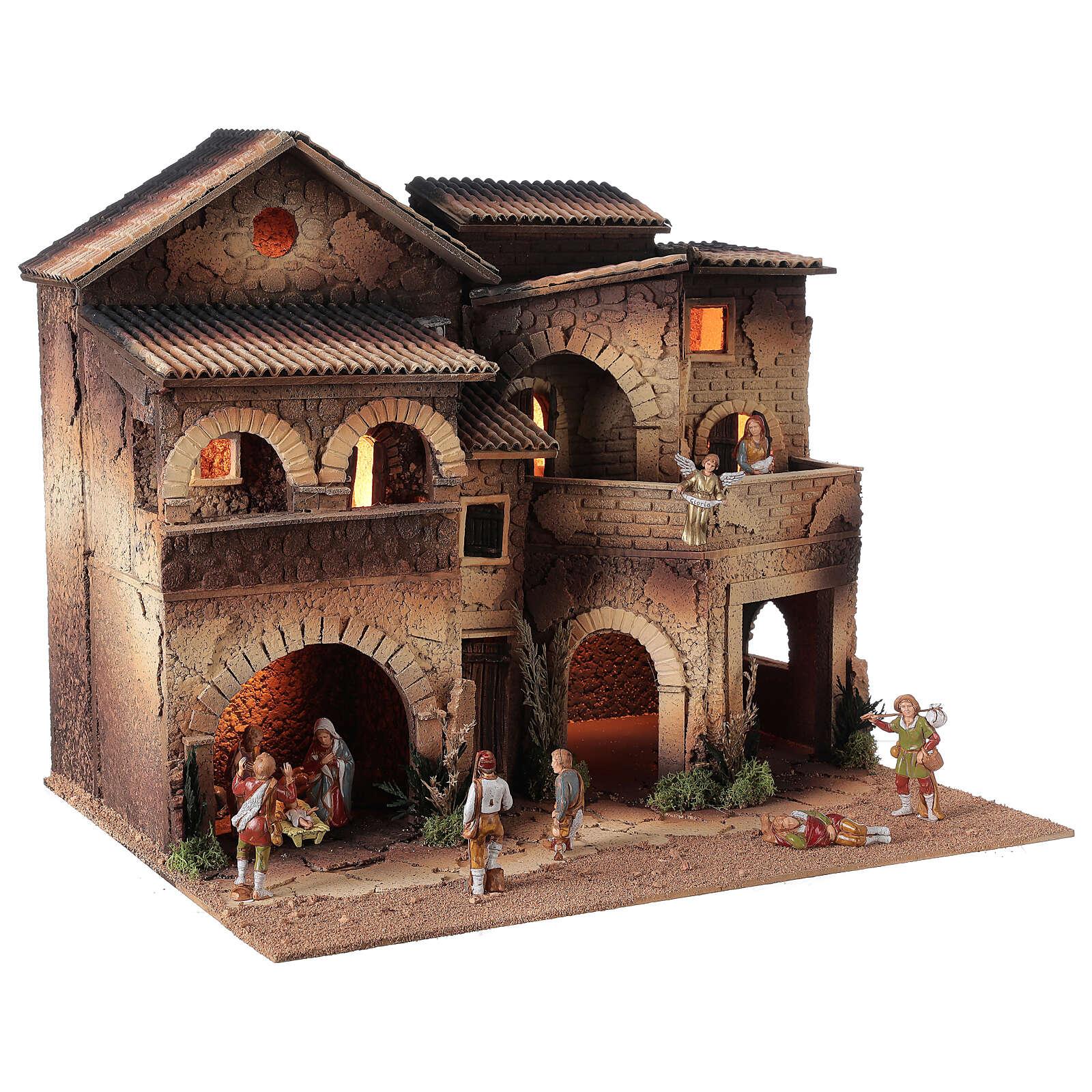 Village crèche éclairé grand balcon 40x50x40 cm santons 8 cm Moranduzzo 4