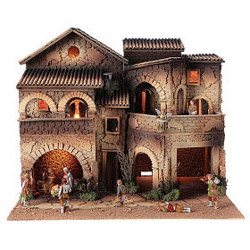 Village crèche éclairé grand balcon 40x50x40 cm santons 8 cm Moranduzzo s1